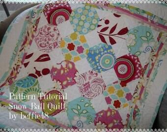Snow Ball Quilt Pattern Tutorial, pdf w photos