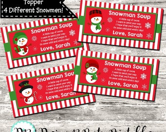 Snowman Soup Christmas Treat Bag Topper Favor Digital Printable