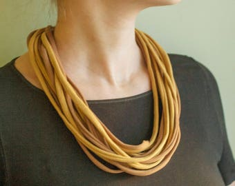 A knitting yarn necklace in brown shades, scarf necklace, knitted jewelry