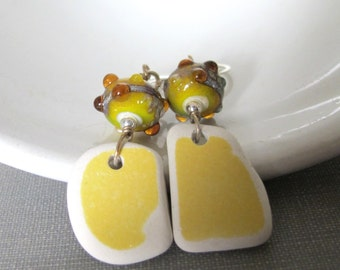 Silver Earrings, Glass Earrings, Pottery Earrings, Yellow and White, Lampwork Glass, Beach Pottery, Pottery Shard, Yellow Ochre