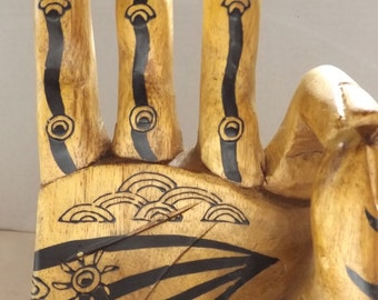 Vintage Hand Carved Wooden Vitarka Mudra from Indonesia