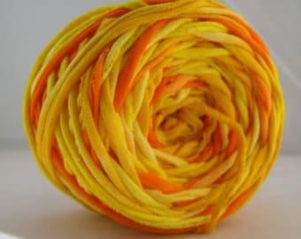 T Shirt Yarn Hand Dyed- Fire 60 Yards