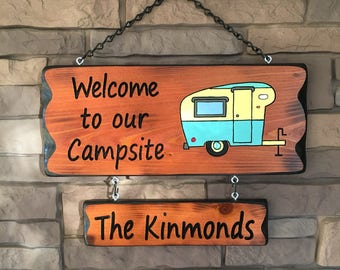 Camper Sign with Vintage Camper #008