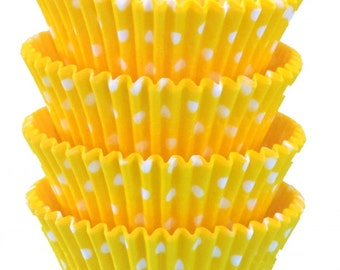 Yellow Polka Dot Baking Cups - Standard & Mini Sizes available