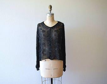 1920s beaded blouse . vintage 20s black silk chiffon top