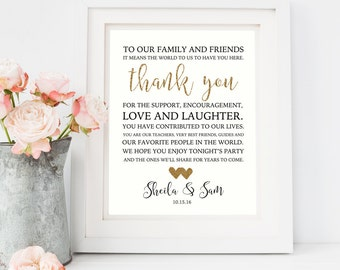 Wedding Thank You Printable/ To Our Family/ Thank You Wedding Sign/ Wedding signage/ Wedding Printables/ Reception Sign/ Gold wedding