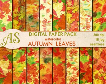 Digital Autumn Leaves Seamless Paper Pack, 16 printable Digital Scrapbooking papers, Floral Collage, Decoupage, Instant Download, set 37