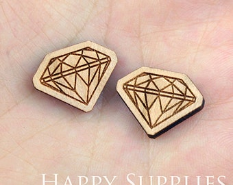 4pcs (SWC65) DIY Laser Cut Wooden Diamond Charms