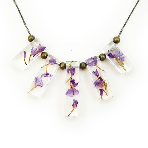 Dried Flower Terrarium Statement Necklace • Science Jewelry • Resin Flower Pendant • Resin Specimen Jewelry • Terrarium Statement Jewelry