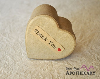 """80 THANK YOU stickers- with red heart thank you labels on Kraft brown 1/2"""" x 1 3/4 inch- wedding labels, party favors stickers"""