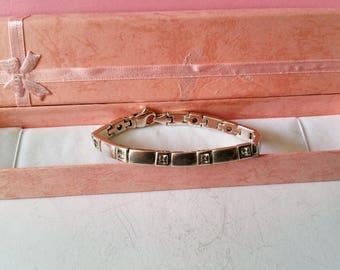 Bracelet link silver bracelet 925 solid crystals square SA124