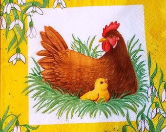 PAPER TOWEL hen and chicks #AN025