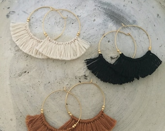 Tassel earrings boho chic earrings earth brown gold hoop earrings  anti tarnish coated