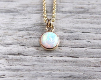 Tiny opal necklace. Gold or silver with 6 or 8 mm lab opal.