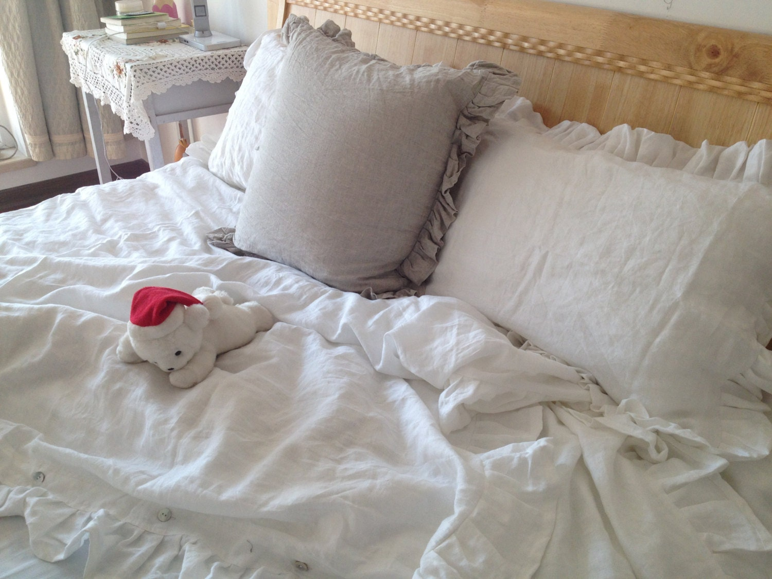 Shabby Chic Pre Washed 100 Natural Linen Bedding Ruffled
