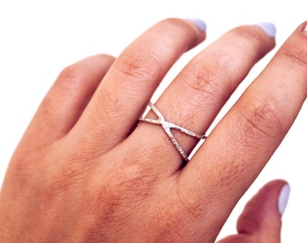 Sterling Silver Criss-Cross Ring | Hammered Texture | Simple, Minimalist, Jewelry Staple | Free Shipping on orders 30+