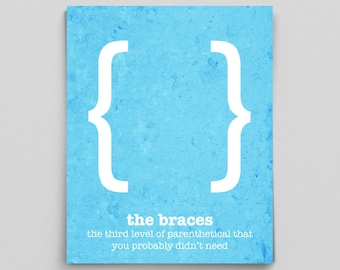 Braces Punctuation Poster Editor Gifts for Writers Gifts for Her Grammar Police Classroom Decor Office Decor Typewriter Quotes for Wall Art