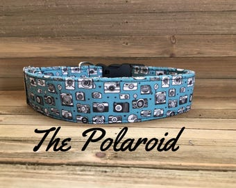 "Girl or Boy Dog Collar with Vintage Cameras on a Blue- Teal Background ""The Polaroid"""