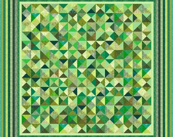 """GREEN ACRES 2 - 112"""" x 112"""" Large King or 97"""" x 97"""" King - Quilt-Addicts Pre-cut Quilt Kit or Finished Quilt"""