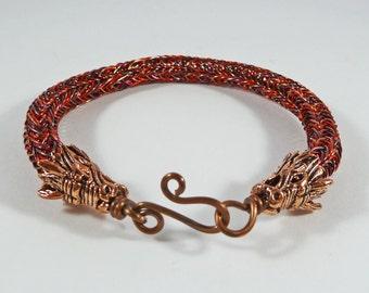 Red Dragon Bracelet. Dragon Gift. Daenerys Jewelry. Copper Dragon Bracelet. Dragon Heads. Fantasy Jewellery. MEDIUM. Viking Knit Bracelet