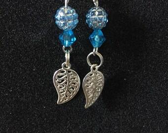 leaf earrings blue charm