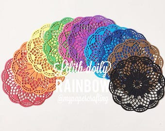 10 rainbow or pastel color Lilith paper doilies for wedding decoration/ pack