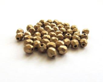 Tiny Faceted Matte Metallic Gold Czech Glass Beads, 3mm - 50 pieces