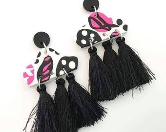 Black, Hot Pink & White Polymer Clay and Black Tassel Earrings