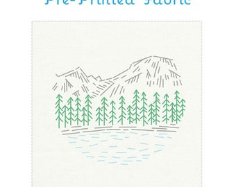 ROCKY MOUNTAINS pre-printed fabric for embroidery, national parks, national parks embroidery, landscape embroidery pattern by StudioMME