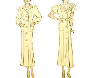 Vintage 30's Smock Dress Sewing Pattern Size 18 Bust 36 Front Button Wide or Narrow Collar Princess Seams Butterick 5378 Non Printed FFolds