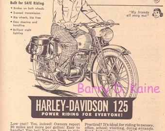 Vintage Harley Davidson Ad 1949 print 718