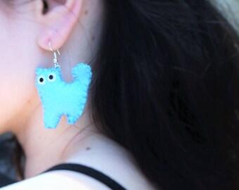 Handmade Felt Cat Kitty Kitten Cat Lover Hoop Earrings