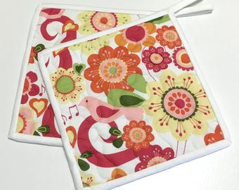 Pot holders Flower Bird Quilted (Set of Two) Springtime Hot Pads Handmade Pink-Orange-Yellow Whimsy