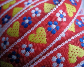 Hearts and Blooms woven jacquard ribbon RED and Yellow