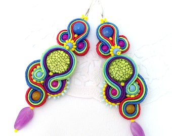 Soutache Earrings 3 in 1, Long colorful Dangle Earrings, Unique Earrings, Hand Embroidered Soutache Earrings-gift for Valentine's day