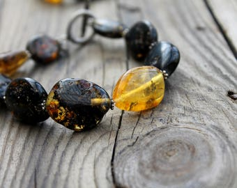 RAW Baltic Amber Bracelet for Women Honey Amber Multicolor Bracelet Oval Colors of Fall Fashion Warm White Milky Cognac Toggle