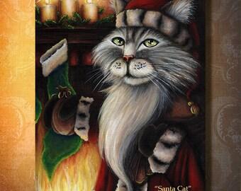 Santa Cat Filling Christmas Stocking, Mantle Fireplace 8x10 Fine Art Print