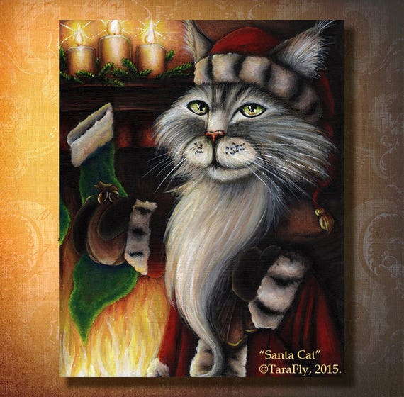 Santa Cat 8x10 Fine Art Print