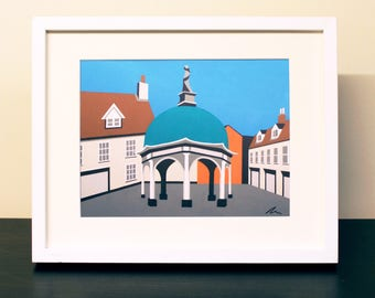 Bungay Buttercross Mounted Fine Art Print - 'The Buttercross' - Travel poster - by Rebecca Pymar