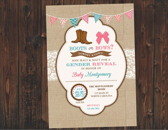 Gender Reveal Invitation - Boots or Bows Boy or Girl Gender Reveal Party Invite - Burlap and Lace