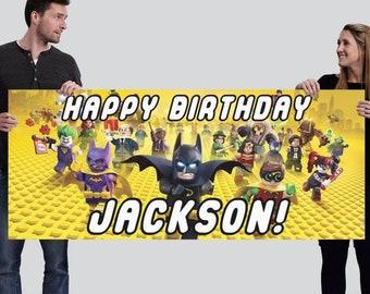 Customized Happy Birthday Vinyl Banner - Lego Batman INSPIRED