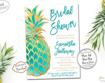 INSTANT DOWNLOAD - Gold Glitter Pineapple Tropical Bridal Shower Invitation - Luau Bridal Shower - Hawaiian Bridal Shower - Teal 0219 0660