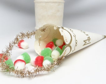Early 1900's French Marriage Cone Cornucopia Candy Container, Tinsel Ornament