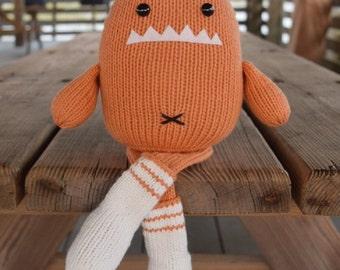 Orange Sock Monster, Knit Toy, Handmade Kids Toy, Stuffed Monster, Monster Doll, Plush Monster, Knit Stuffed Animal, Baby Gift