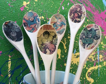 Superhero Wooden Spoon - Geek Gift - Personalized Kitchen Utensils- Wedding Gift- Housewarming Gift- Nerdy Gifts - Superhero Kitchen Decor