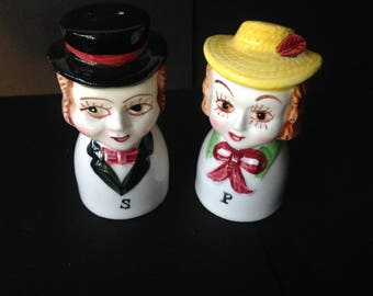 Vintage Man and Woman Salt & Pepper Shakers Big Eyes with Hats from Japan 1960s
