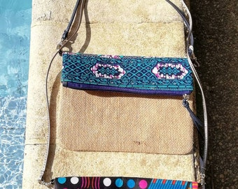 Clutch bag with detachable shoulder strap made of burlap and wax / recycled / fashion