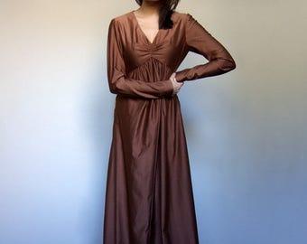 Copper Dress Vintage Maxi Dress Empire Waist Boho Dress Long Sleeve Maxi Dress Gown Vintage Clothing - Small to Medium S M