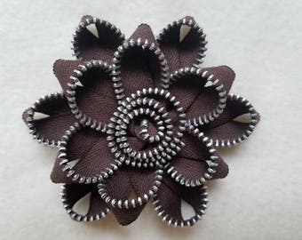 Recycled Zipper Flower Lapel Pin Brooch, brown with silver teeth