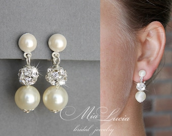 Bridal Jewelry Clip-On Earrings, Pearl Clip-on Earrings, Ivory Pearl Bridal Jewelry Clip-on Earrings, White Silver or Gold e01